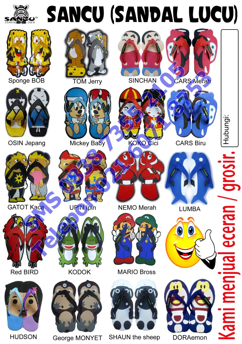 brosur jual sandal lucu grosir murah