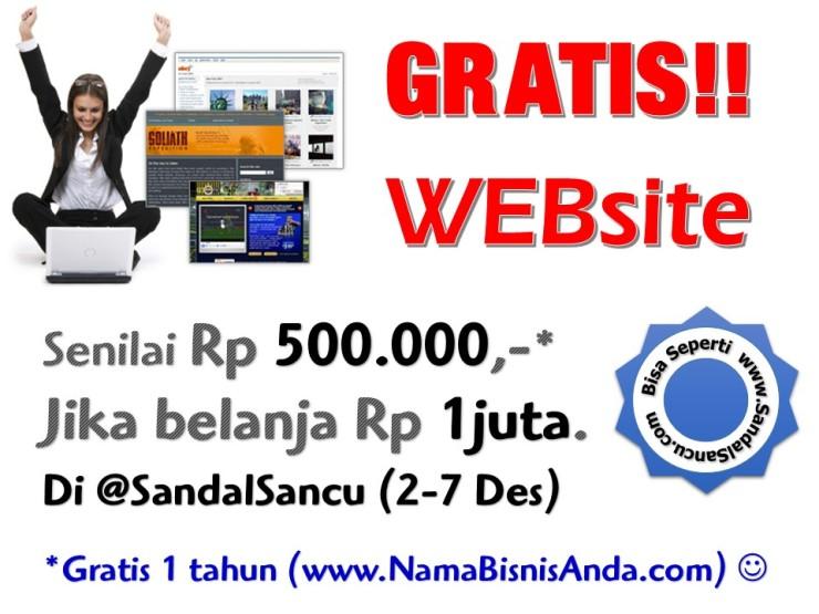 GRATIS WEBSITE dari @SandalSancu senilai 500 Ribu