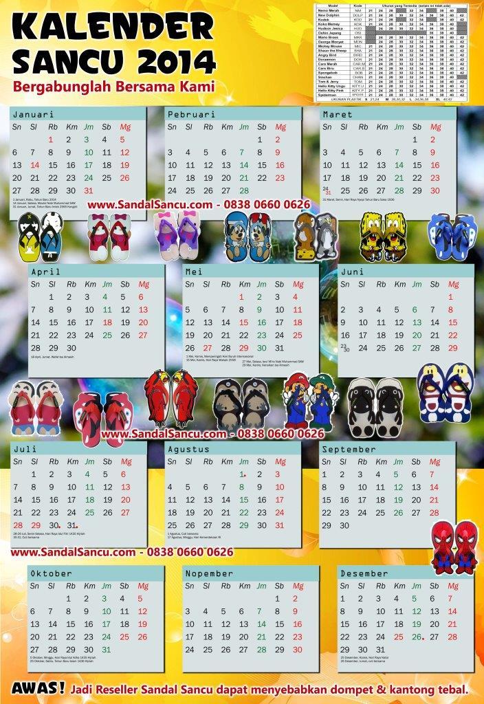 Kalender 2014 Dari Sandal Sancu